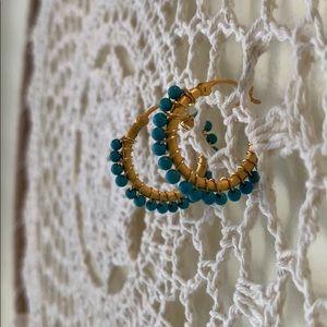 Banana Republic Turquoise Gold Loop Earrings NWOT